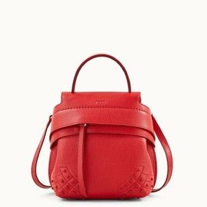 Tod's Lipstick Red Mini Wave Convertible Backpack